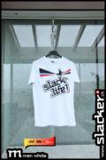 Slack-Life! T-Shirt für Männer von Slacker. Weisses bedrucktes Quiksilver-Shirt (M).
