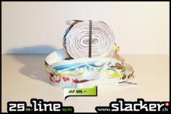 Super-flexiges Jumpline-Band, Schlaufe einseitig, kann mit einer oder zwei Ratschen verwendet werden, mehrfarbig bedruckt. 25m lang, 5cm breit.